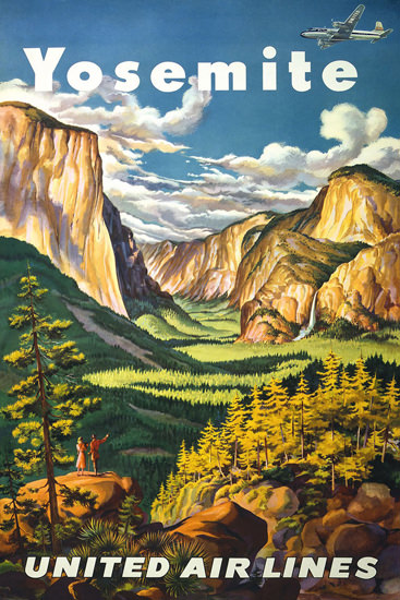 United Air Lines Yosemite 1945 | Vintage Travel Posters 1891-1970