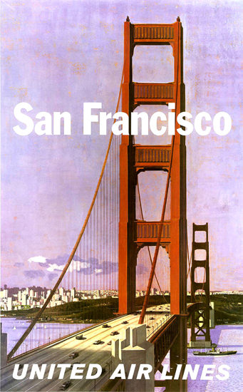 United Air San Francisco 1965 Golden Gate Bridge | Vintage Travel Posters 1891-1970