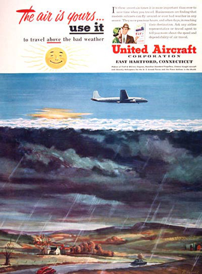 United Aircraft Co 1950 Above Bad Weather | Vintage Travel Posters 1891-1970