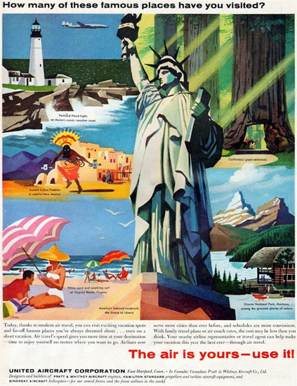 United Aircraft Co The Air Is Yours – Use It 1957 | Vintage Travel Posters 1891-1970