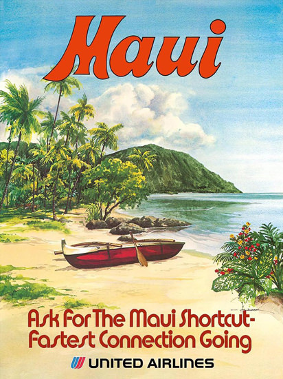 United Airlines Hawaii Maui | Vintage Travel Posters 1891-1970