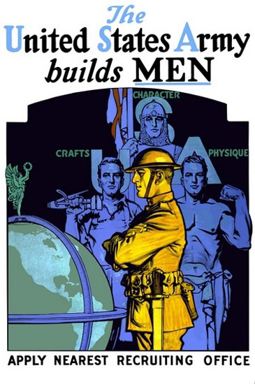 United States Army Builds Men Crafts Character | Vintage War Propaganda Posters 1891-1970