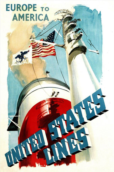 United States Lines Europe To America 1950 | Vintage Travel Posters 1891-1970