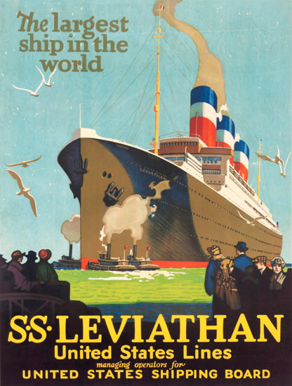 United States Lines Leviathan Largest Ship 1925 | Vintage Travel Posters 1891-1970