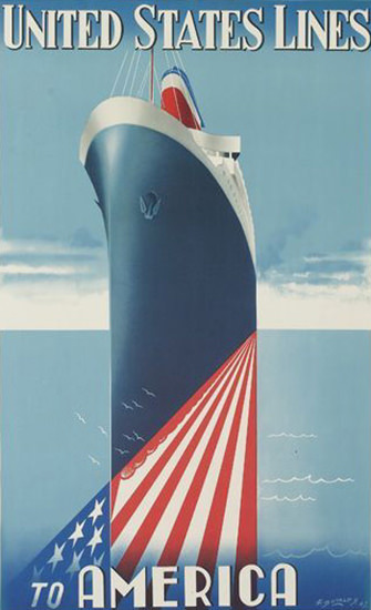 United States Lines To America 1947 | Vintage Travel Posters 1891-1970