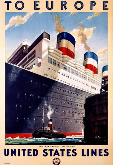 United States Lines Worlds Largest Ship Leviathan | Vintage Travel Posters 1891-1970