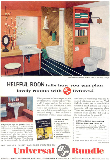 Universal Rundle Bathroom 1955 | Vintage Ad and Cover Art 1891-1970
