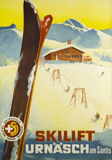 Urnäsch Skilift Am Saentis Switzerland 1944 Skiing | Vintage Travel Posters 1891-1970