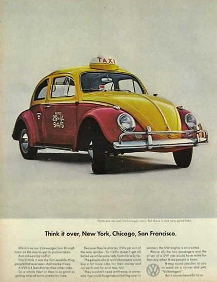VW Volkswagen 1965 Think It Over New York Cab | Vintage Cars 1891-1970