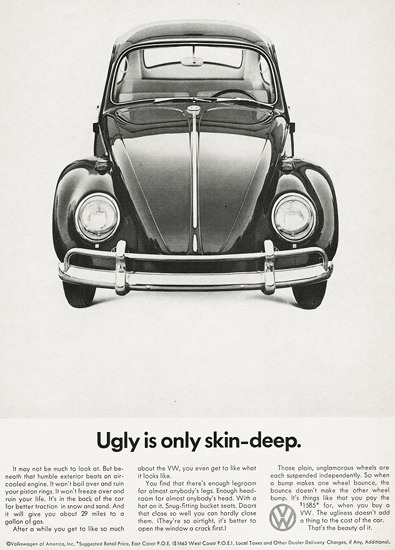 VW Volkswagen 1966 Ugly Is Only Skin-Deep | Sex Appeal Vintage Ads and Covers 1891-1970