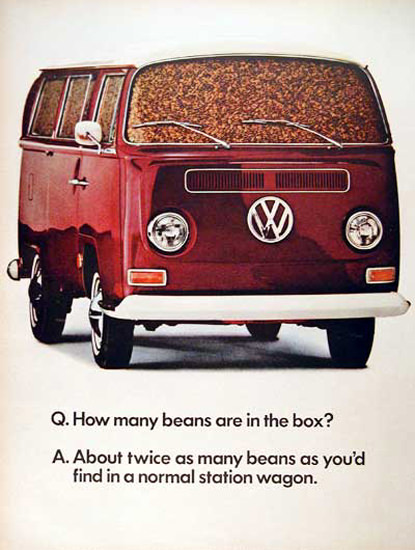 VW Volkswagen 1968 How Many Beans In Box | Vintage Cars 1891-1970