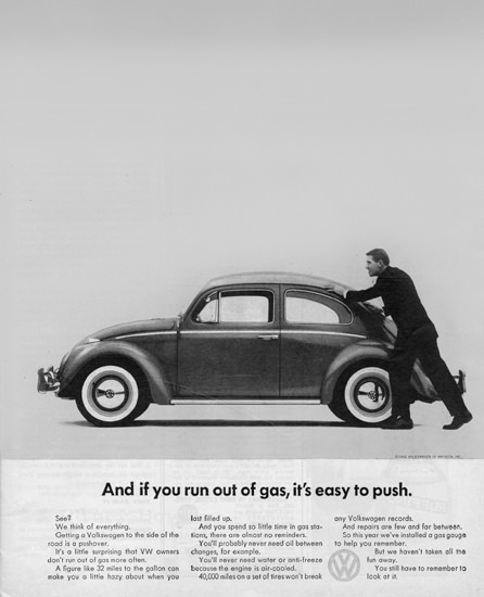 VW Volkswagen Beetle Out Of Gas Easy To Push | Vintage Cars 1891-1970