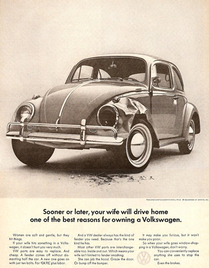 VW Volkswagen Your Wife Will Drive Home | Vintage Cars 1891-1970