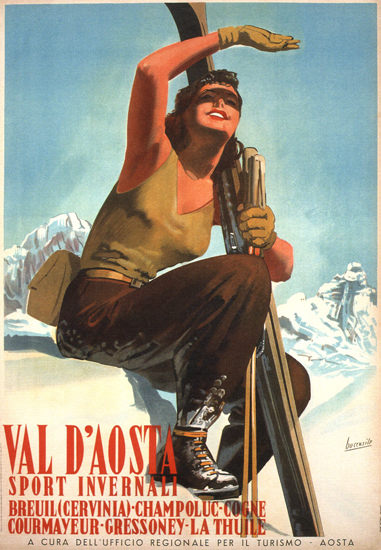 Val D Aosta Sport Invernali Gino Goccasile 1947 | Sex Appeal Vintage Ads and Covers 1891-1970