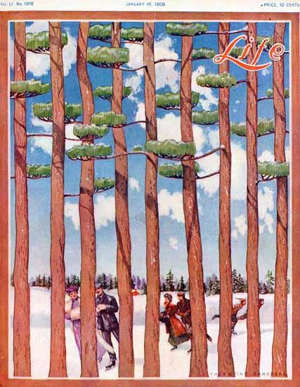 Valentine Sandberg Life Humor Magazine 1908-01-16 Copyright | Life Magazine Graphic Art Covers 1891-1936
