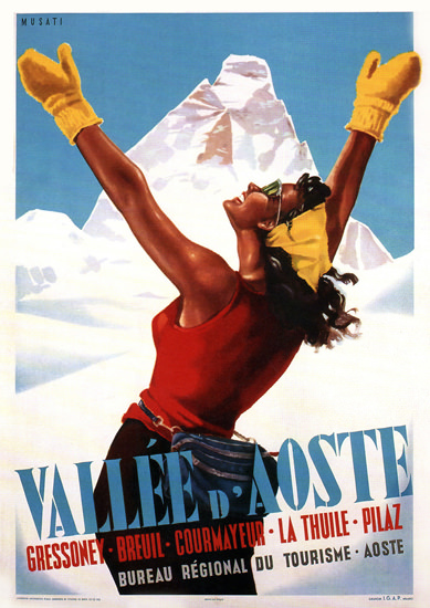 Vallee D Aoste Italy Arnaldo Musati 1950 | Sex Appeal Vintage Ads and Covers 1891-1970