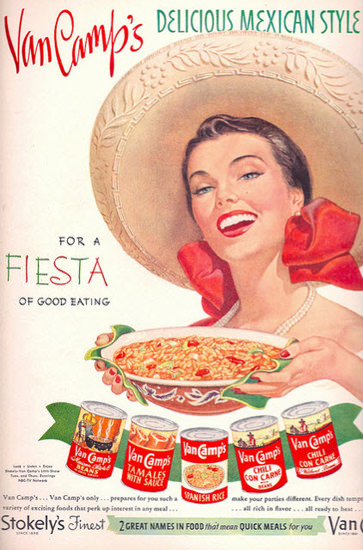 Van Camps Delicious Mexican Style For Fiesta | Sex Appeal Vintage Ads and Covers 1891-1970