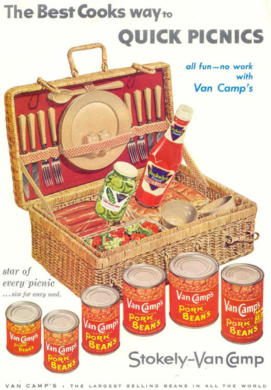 Van Camps Pork Beans Stokelys Catsup 1955 | Vintage Ad and Cover Art 1891-1970