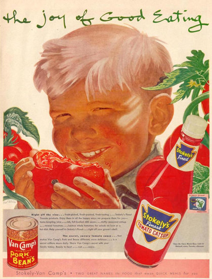 Van Camps Pork Beans Tomato Catsup 1953   Vintage Ad and Cover Art 1891-1970
