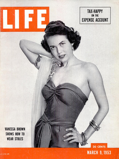 Vanessa Brown how to wear Stoles 9 Mar 1953 Copyright Life Magazine | Life Magazine BW Photo Covers 1936-1970
