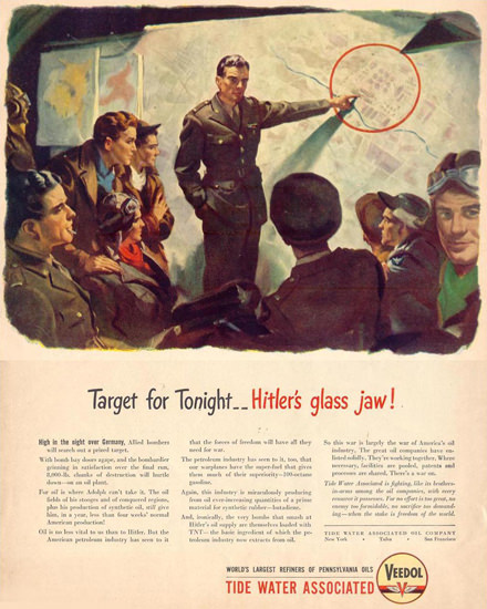 Veedol Target For Tonight Hitlers Glass Jaw 1943 | Vintage War Propaganda Posters 1891-1970