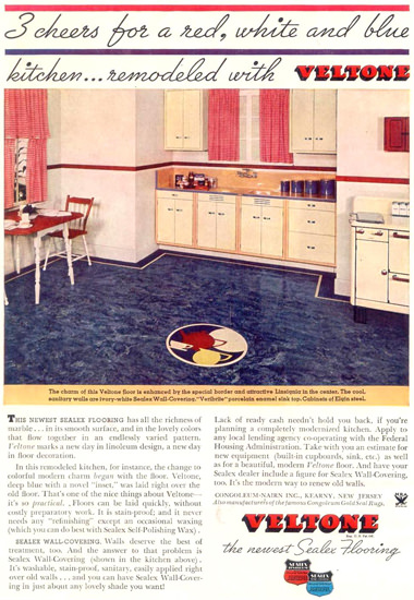 Veltone Flooring Kitchen 1935 | Vintage Ad and Cover Art 1891-1970