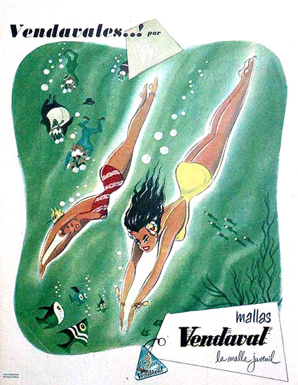 Vendaval Mallas Swim Suits 1951 | Sex Appeal Vintage Ads and Covers 1891-1970