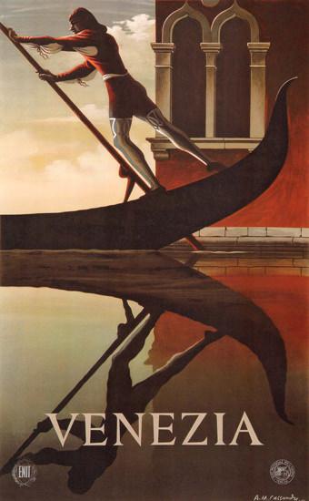 Venezia Venice Gondolier Italy Italia | Vintage Travel Posters 1891-1970