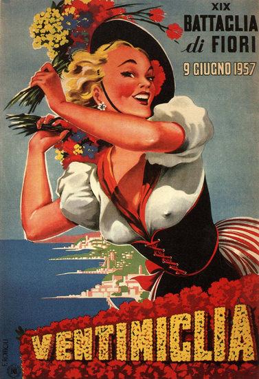 Ventimiglia Battaglia Di Fiori 1957 Flower Exhibit | Sex Appeal Vintage Ads and Covers 1891-1970