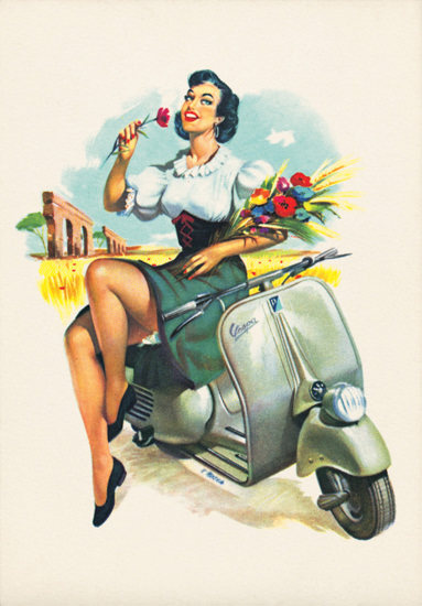Vespa Girl With Flowers | Sex Appeal Vintage Ads and Covers 1891-1970