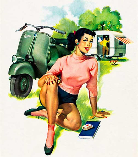 Vespa Pin-Up Girl August 1952 | Sex Appeal Vintage Ads and Covers 1891-1970