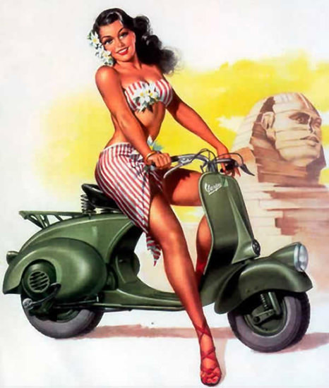 Vespa Pin-Up Girl July 1951 | Sex Appeal Vintage Ads and Covers 1891-1970