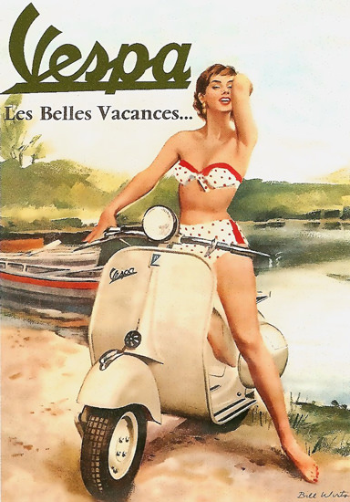 Vespa Pin Up Girl Les Belles Vacances | Sex Appeal Vintage Ads and Covers 1891-1970