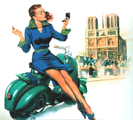 Vespa Pin-Up Girl March 1951 | Sex Appeal Vintage Ads and Covers 1891-1970