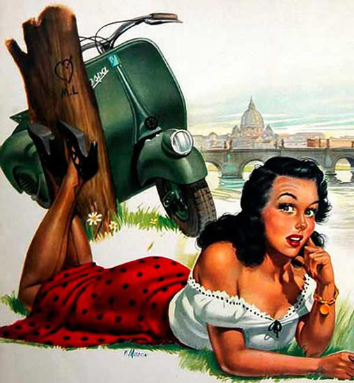 Vespa Pin-Up Girl May 1951 | Sex Appeal Vintage Ads and Covers 1891-1970