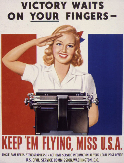 Victory On Your Fingers Keep Em Flying Miss USA | Vintage War Propaganda Posters 1891-1970