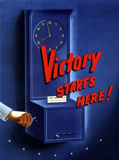Victory Starts Here Attendance Recorder | Vintage War Propaganda Posters 1891-1970
