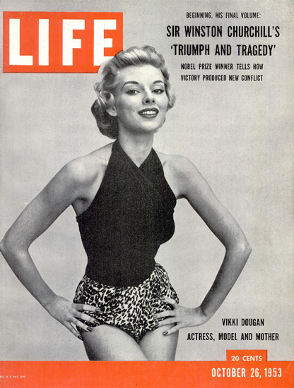 Vikki Dougan Actress Model Mother 26 Oct 1953 Copyright Life Magazine | Life Magazine BW Photo Covers 1936-1970