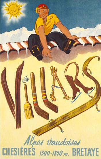 Villars Chesieres Bretaye Alpes Vaudoises 1943 | Vintage Travel Posters 1891-1970