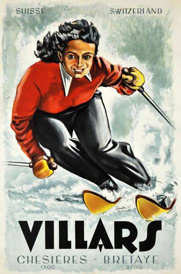 Villars Chesieres Bretaye Suisse Skiing 1948 | Vintage Travel Posters 1891-1970