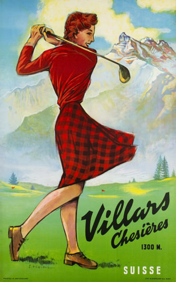 Villars Chesieres Golf Suisse Switzerland 1946 | Sex Appeal Vintage Ads and Covers 1891-1970