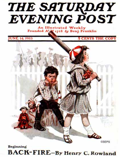 Violet Moore Higgins Saturday Evening Post Baseball 1913_06_14 | The Saturday Evening Post Graphic Art Covers 1892-1930