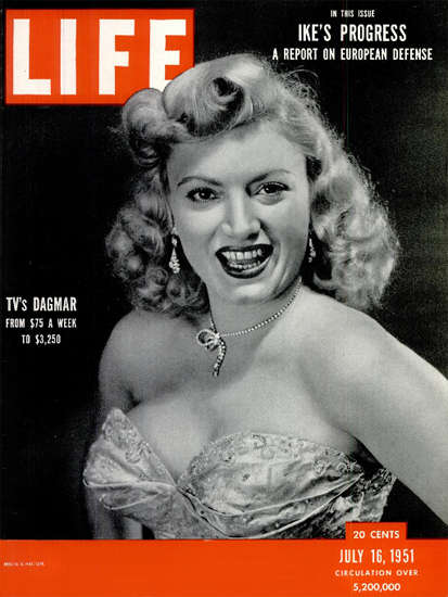 Virginia Ruth Egnor is Dagmar 16 Jul 1951 Copyright Life Magazine   Life Magazine BW Photo Covers 1936-1970