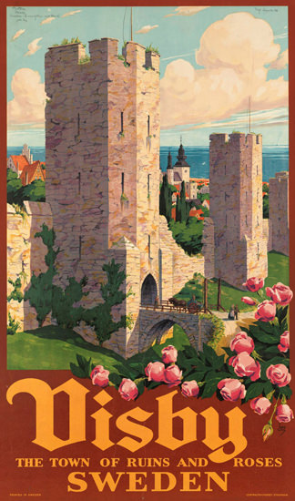 Visby Town Of Ruins And Roses Sweden 1930s | Vintage Travel Posters 1891-1970