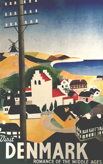 Visit Denmark Romance Of Middle Ages 1930s | Vintage Travel Posters 1891-1970