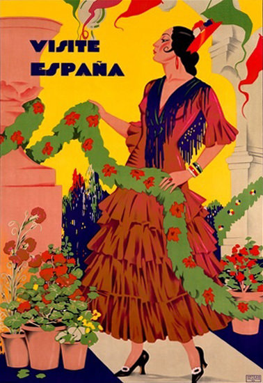 Visite Espana Flamenco Dancer | Sex Appeal Vintage Ads and Covers 1891-1970