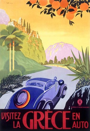 Visitez La Grece En Auto Visit Greece By Car | Vintage Travel Posters 1891-1970