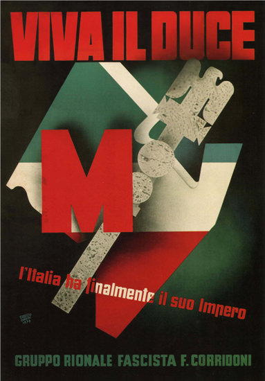 Viva Il Duce Gruppo Fascista Italy Italia | Vintage War Propaganda Posters 1891-1970
