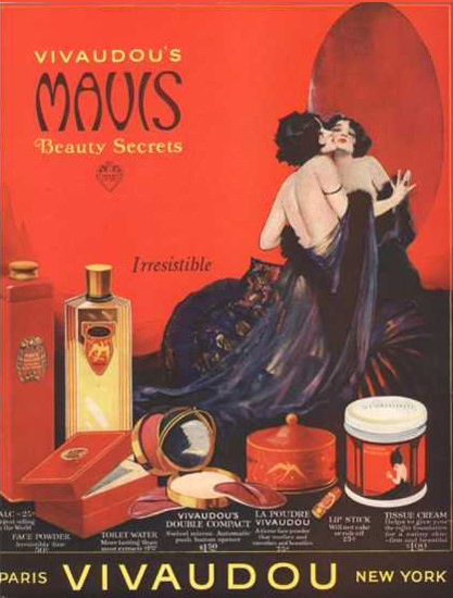 Vivaudou Mavis Beauty Secrets Paris 1920s | Sex Appeal Vintage Ads and Covers 1891-1970