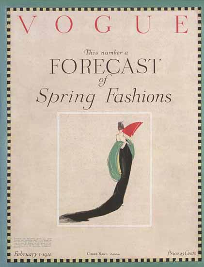 Vogue 1918-02-01 Copyright | Vogue Magazine Graphic Art Covers 1902-1958